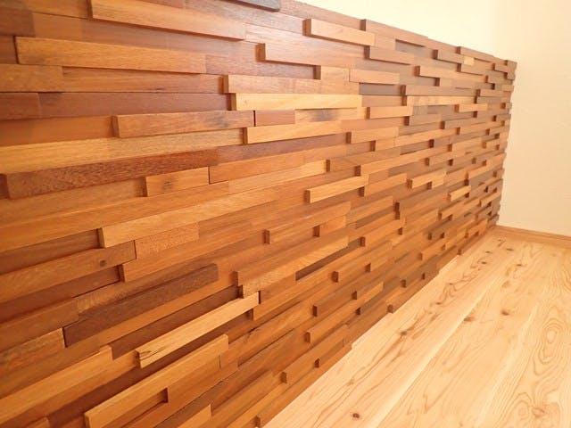 ウッドパネル アクセントウォール デザインウォール リビングキッチンの施工事例 株式会社 野川建設様