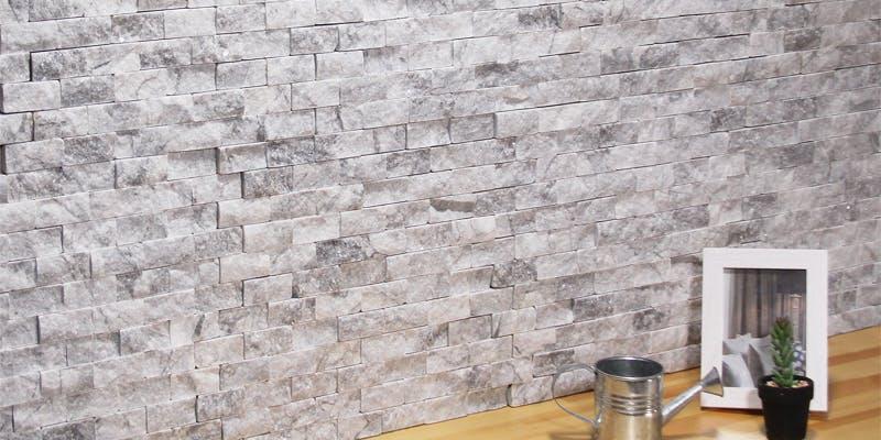 ストーンパネル アクセントウォール デザインウォール Stone Mosaic ストーンモザイク グレイッシュホワイト