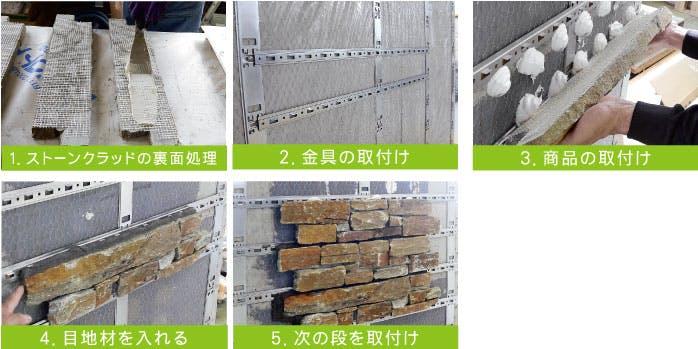 シュタールネット工法 ストーンクラッド 石材 施工方法