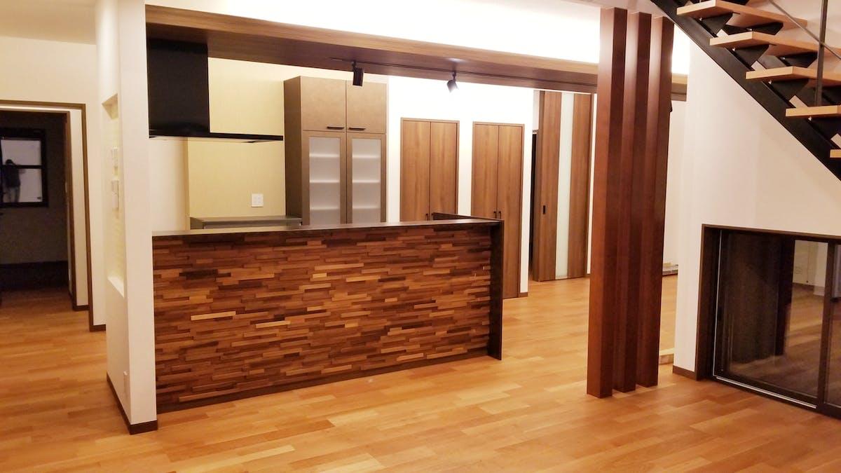 キッチンカウンター施工事例 k様邸 ウッドパネル アクセントウォール デザインウォール
