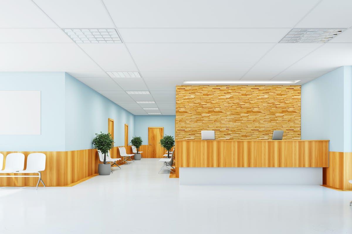 病院待合室施工イメージ ウッドパネル アクセントウォール デザインウォール