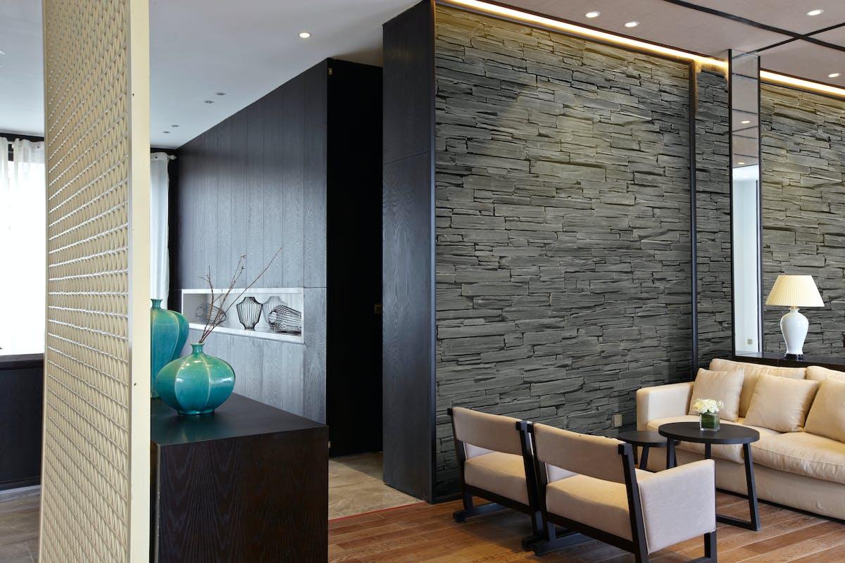 ホテル待合室施工イメージ ストーンパネル アクセントウォール デザインウォール