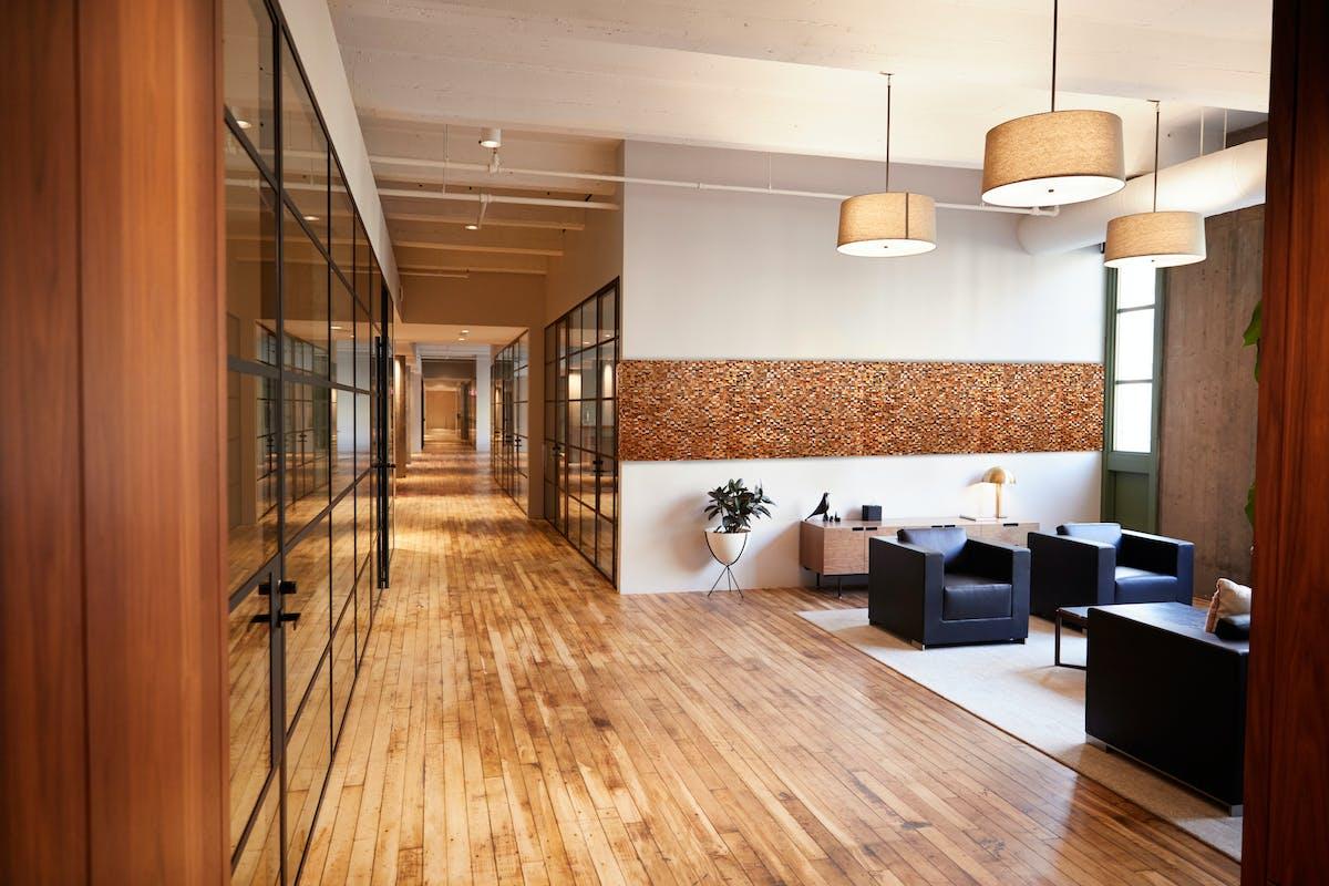 オフィス施工イメージ ウッドパネル アクセントウォール デザインウォール