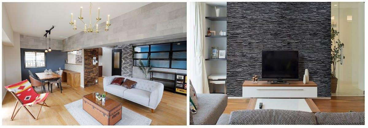 装飾パネル施工イメージ ウッドパネル ストーンパネル アクセントウォール デザインウォール